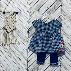 Disney checkered dress and pant set